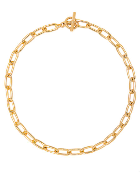 Small Gold Oval Linked Necklace