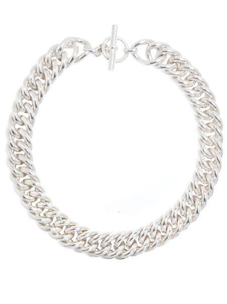 Giant Silver Plated Curb Chain Necklace