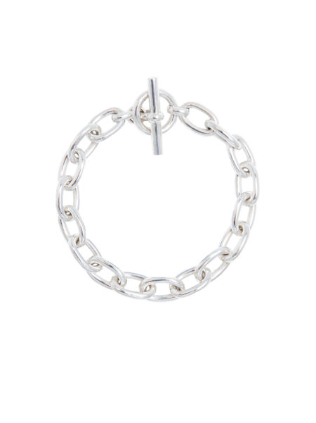 Small Silver Oval Linked Bracelet