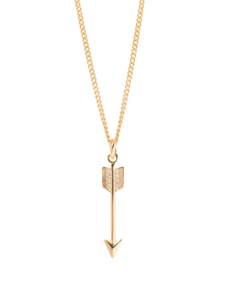 Diamante Studded Arrow Necklace