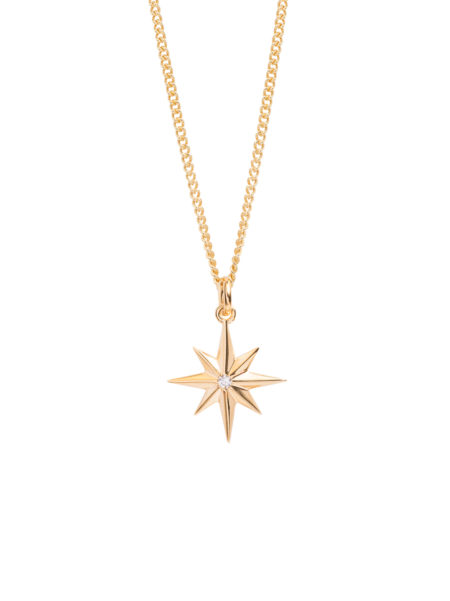 7 Point Star With Diamante Necklace on 50cm Gold Curb