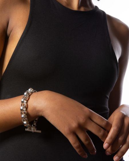 Large Silver Rolo Link Bracelet
