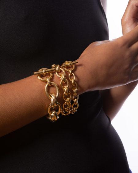 Small Gold Double Link Bracelet