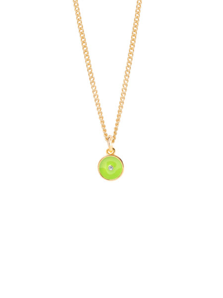 Lime Green Enamel Disc On Fine Curb Chain