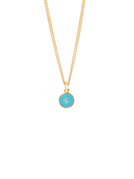 Turquoise Enamel Disc On Fine Curb Chain