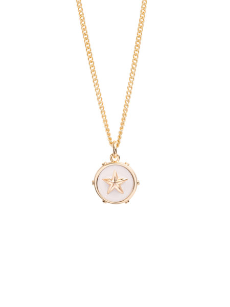 Cream Enamel Disc With Gold Star On Fine Curb Chain