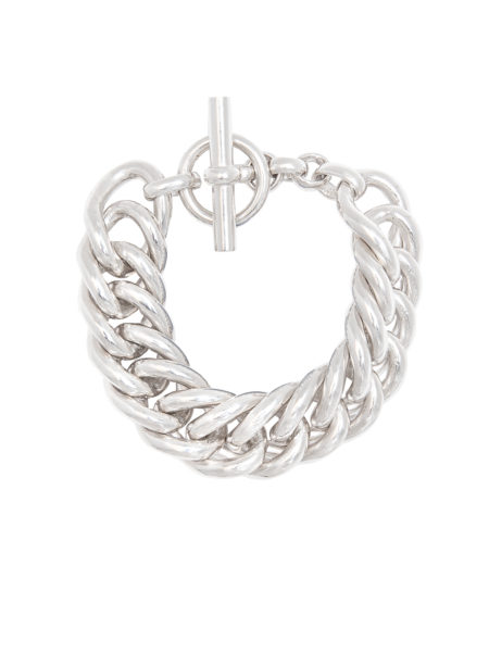 Giant Silver-Plate Curb Link Bracelet