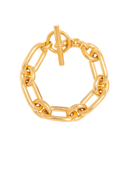 Large Gold Tread Link Bracelet