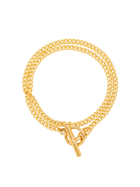 Gold Curb Chain Lariat Necklace