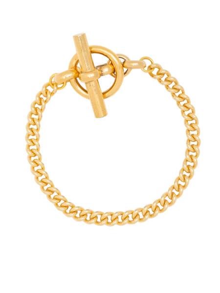 T-Bar Clasp Gold Curb Link Bracelet