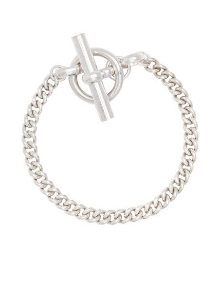 T-Bar Clasp Silver Curb Chain Bracelet