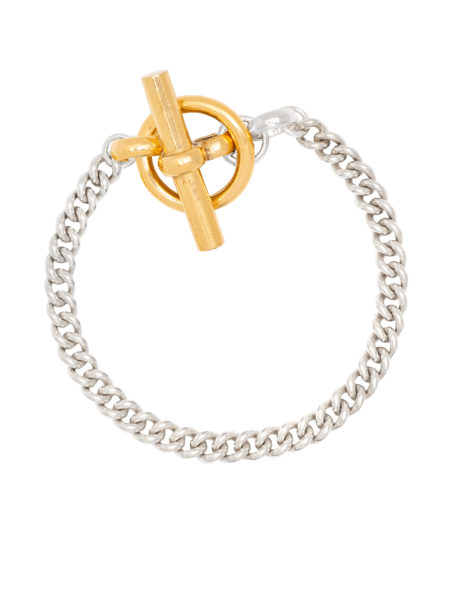 T-Bar Clasp Gold And Silver Curb Link Bracelet